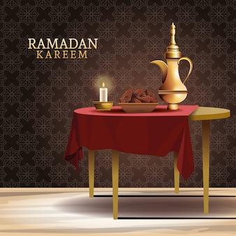 Celebración de ramadán kareem con tetera en la ilustración de la tabla