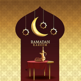 Celebración del ramadán kareem con tetera en la mesa