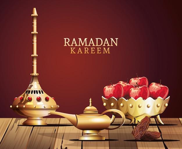 Celebración del ramadán kareem con utensilios dorados y manzanas