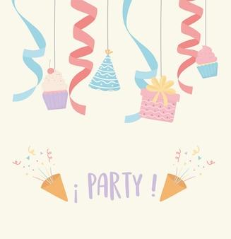 Celebración sombrero regalo magdalenas confeti fiesta decoración
