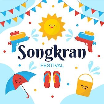 Celebración de songkran de diseño plano