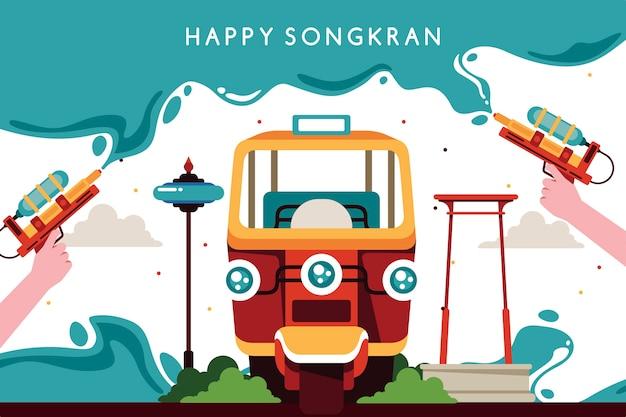 Celebración de songkran de estilo plano
