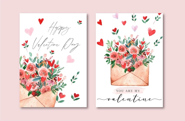 Celebración de la tarjeta de san valentín con corazones de sobre de acuarela y conjunto romántico rojo floral