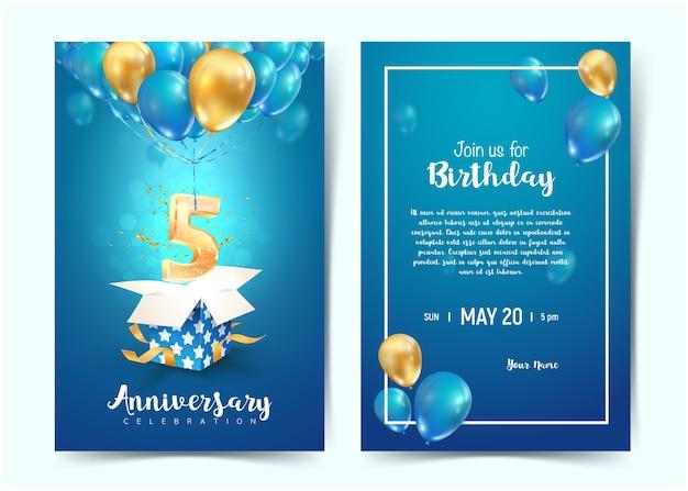Celebración de tarjetas de invitación de cumpleaños de quinto año. celebración del aniversario de cinco años. imprimir plantillas de invitación sobre fondo azul.