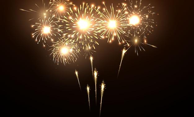 Celebración temática navideña y de fuegos artificiales