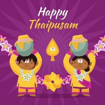Celebración thaipusam dibujada a mano