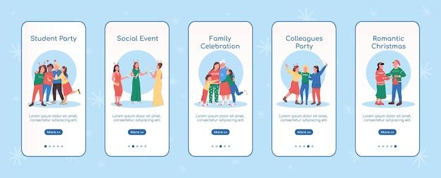 Celebración de vacaciones festivas incorporación de la plantilla plana de la pantalla de la aplicación móvil evento social de navidad recorrido pasos del sitio web con personajes ux ui gui interfaz de dibujos animados para teléfonos inteligentes conjunto de impresiones