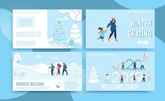 Celebración de vacaciones de invierno y divertido conjunto de páginas web