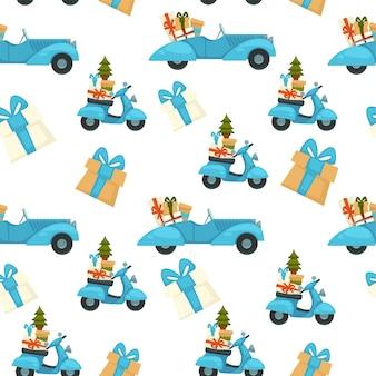 Celebración de vacaciones de navidad, patrón sin fisuras de scooter con pino y regalos. regalos para el saludo de invierno. fondo o impresión para tarjetas. fiesta de año nuevo y navidad. vector en estilo plano