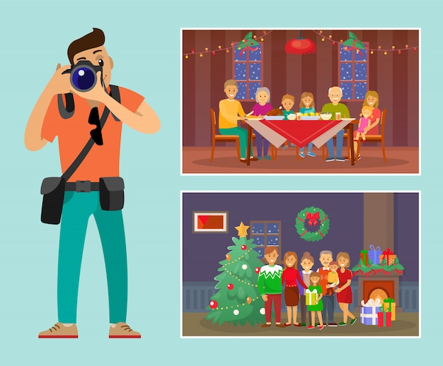 Celebración de vacaciones navideñas family by tree