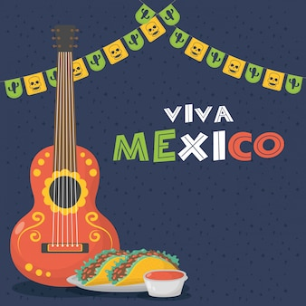 Celebración viva mexico con guitarra y tacos