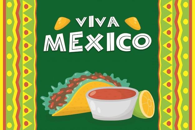 Celebración de viva mexico con taco y salsa