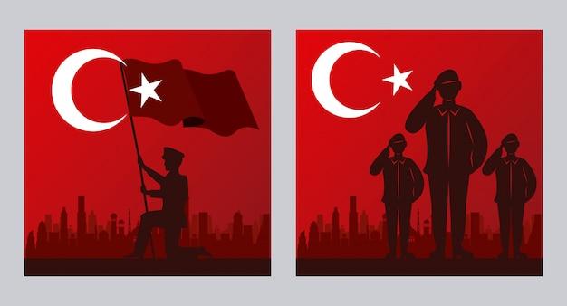 Celebración de zafer bayrami con escenas de soldados en banderas, diseño de ilustraciones vectoriales