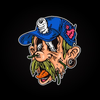 Celebración, zombie, cabeza, monstruo, ilustración