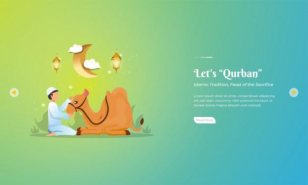 Celebraciones de eid al-adha con sacrificio de camellos por banner web o concepto de saludo