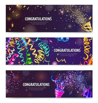 Celebraciones de fiestas nocturnas popper serpentina confeti plantilla de encabezado de felicitación horizontal