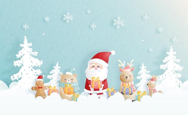 Celebraciones de fondo navideño con santa y amigos, escena navideña en estilo de corte de papel