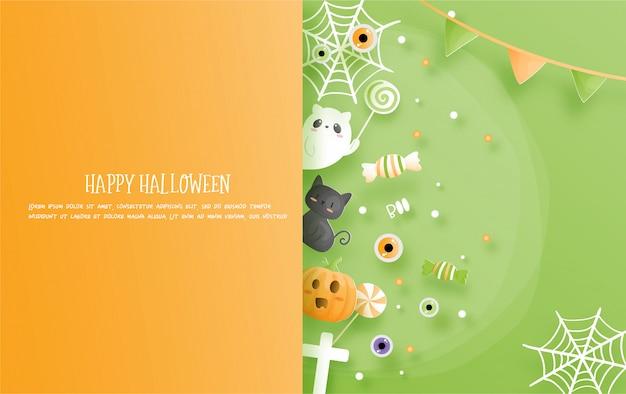 Celebraciones de halloween en estilo de corte de papel.