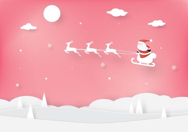 Celebraciones navideñas, feliz año nuevo, papá noel en un trineo con renos, estilo de corte, diseño vectorial artesanal