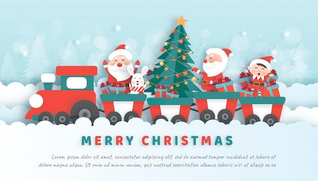 Celebraciones navideñas con santa y sus amigos en papel cortado y pancarta de estilo artesanal