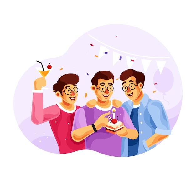 Celebrando cumpleaños con amigos