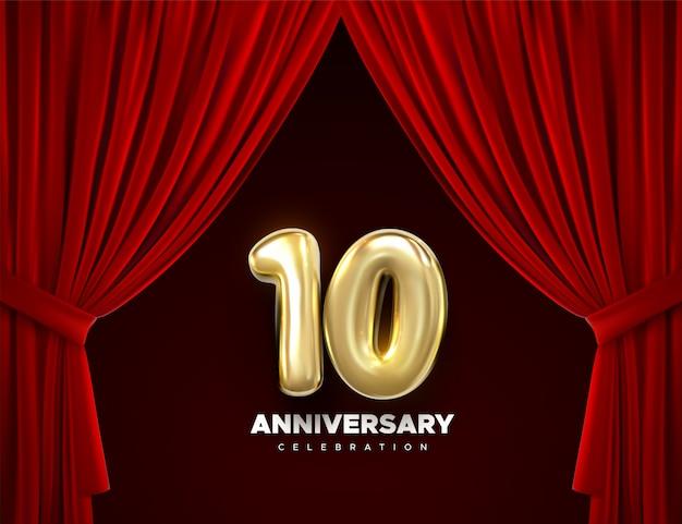 Celebrando el décimo aniversario. números de oro con confeti brillante, estrellas, lentejuelas y serpentinas.