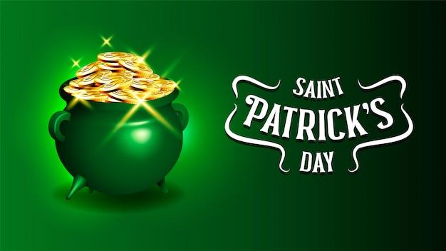 Celebrando el día de san patricio caldero de monedas de oro