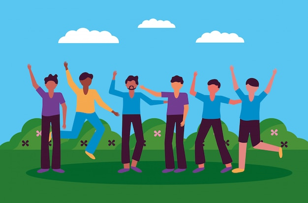 Celebrando el diseño de jóvenes felices