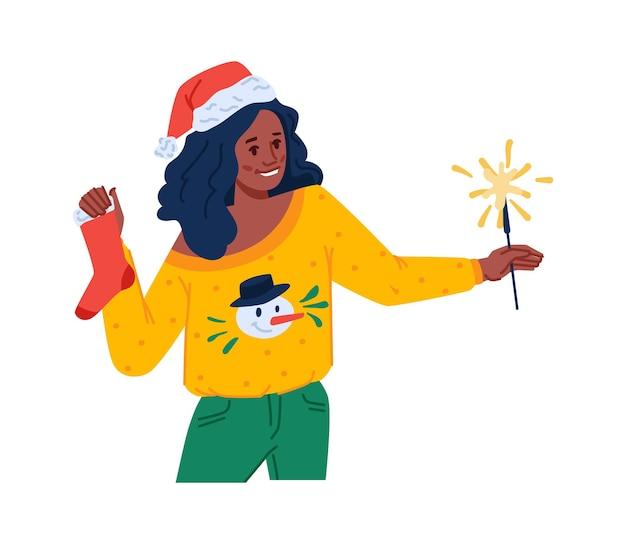 Celebrando navidad y año nuevo mujer con sombrero de santa claus con calcetín y dama de luz de bengala en