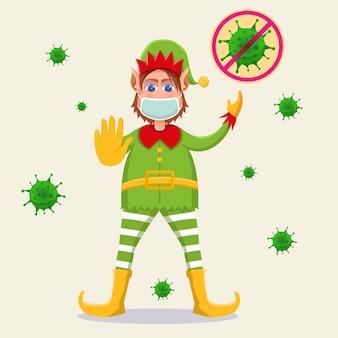 Celebrando la navidad con dibujos animados de elfos con oponentes corona