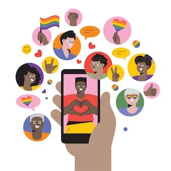 Celebrando el orgullo en las redes sociales ilustración de stock