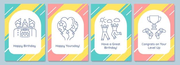 Celebrando postales de fiesta de cumpleaños con conjunto de iconos de glifo lineal. tarjeta de felicitación con diseño de vectores decorativos. cartel de estilo simple con ilustración creativa de lineas. folleto con deseo navideño