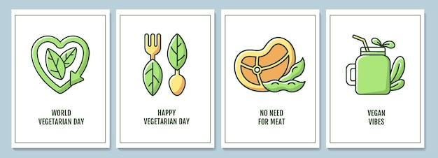 Celebrando las tarjetas de felicitación del mes de la conciencia vegetariana con el conjunto de elementos de icono de color. diseño vectorial de postal. folleto decorativo con ilustración creativa. notecard con mensaje de felicitación.