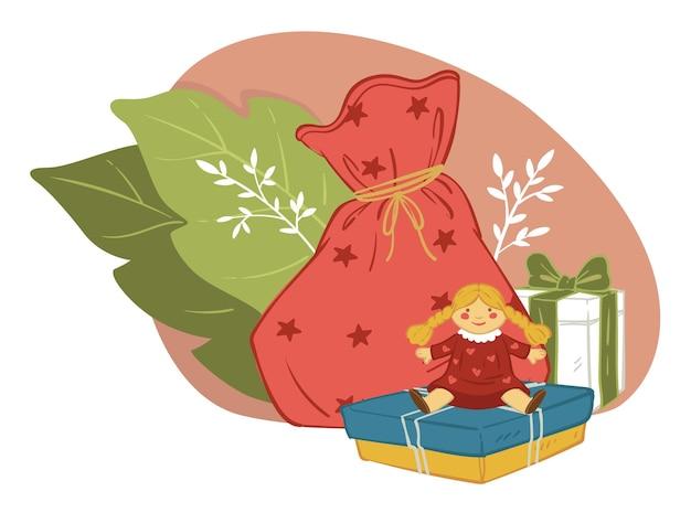 Celebrando las vacaciones de invierno de navidad y año nuevo dando regalos. bolsa con regalos para niños. muñeca y cajas envueltas en papel. flora y hojas decorativas. tradición invernal. vector en estilo plano