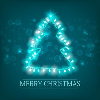 Celebrando las vacaciones de invierno plantilla turquesa con inscripción silueta de árbol de navidad y guirnalda luminosa brillante de luz