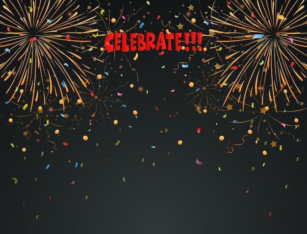 Celebrar el fondo con fuegos artificiales y coloridos confeti