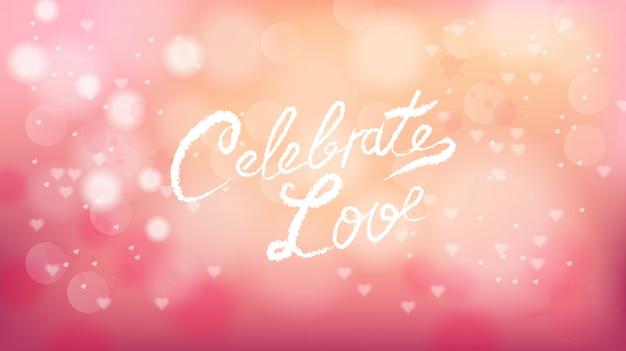 Celebre el amor en el día de san valentín fondo rosa