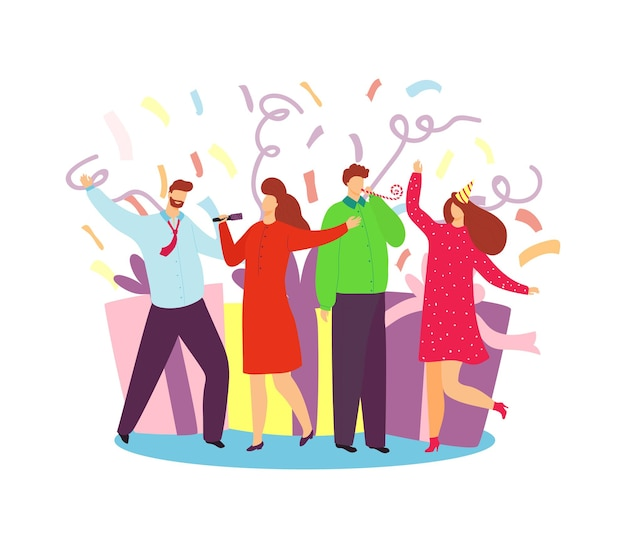 Celebre las vacaciones, ilustración vectorial. carácter de gente joven mujer feliz divertirse en la celebración de la fiesta. soporte de grupo de amigos cerca de una enorme caja de regalo