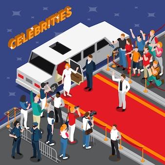 Celebridades en la composición isométrica de la alfombra roja