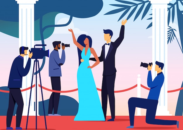 Celebridades pareja llegada plana vector ilustración