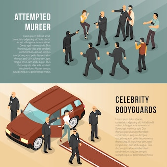 Celebrity bodyguards banners isométricos