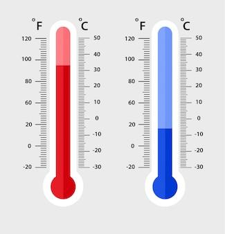 Celsius y fahrenheit meteorología termómetros de medición. calor y frio,