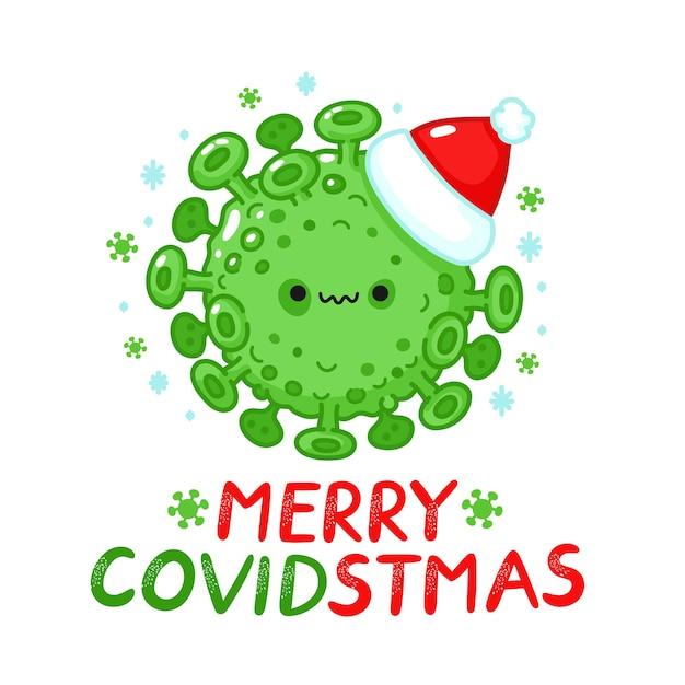 Célula de virus aterrador en carácter de sombrero de navidad. tarjeta de feliz navidad. icono de ilustración de personaje de kawaii de dibujos animados de línea plana. aislado sobre fondo blanco