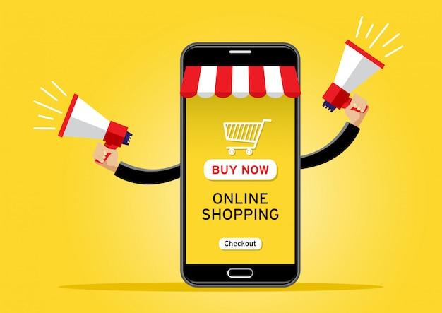 Celular gigante vendiendo productos