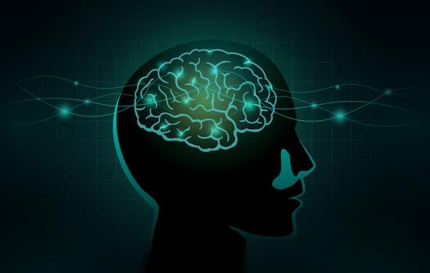 Las células pequeñas y la línea de onda se mueven hacia el cerebro humano