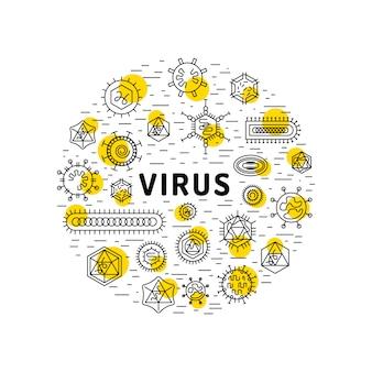Células de virus y bacterias.