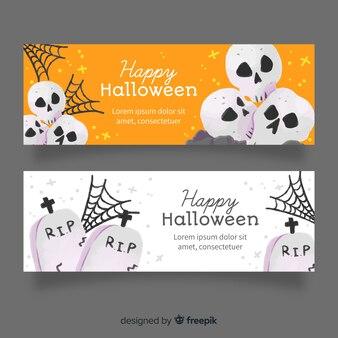 Cementerio y calaveras acuarela banners de halloween