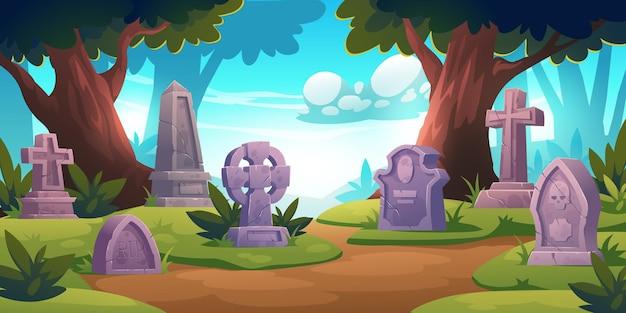 Cementerio, cementerio con lápidas en el bosque con árboles alrededor