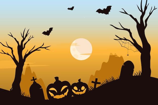 Cementerio espeluznante con calabazas y murciélagos aterradores