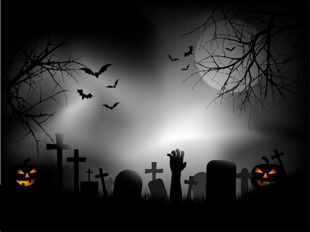 Cementerio espeluznante con mano zombie saliendo del suelo